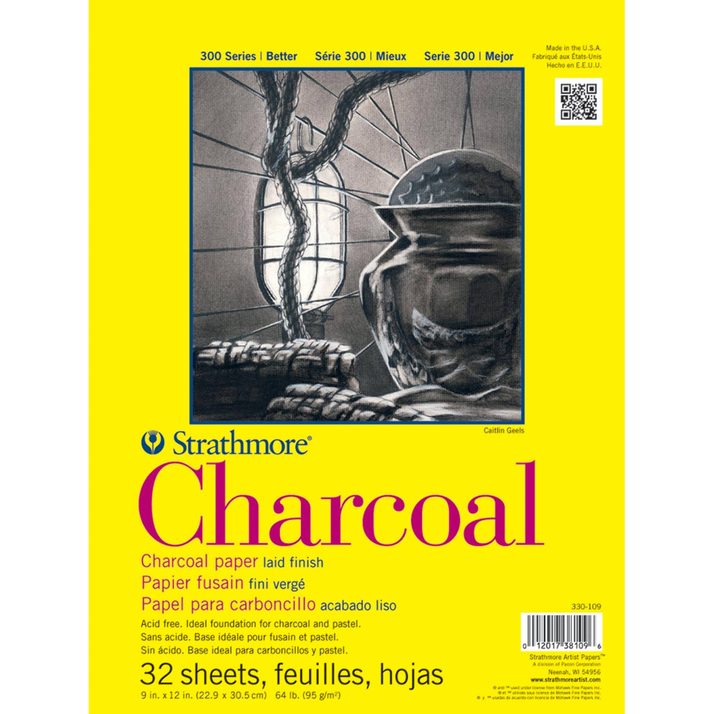"Strathmore Charcoal Drawing Paper - 9"" x 12"", 32 Sheets, 64lb"