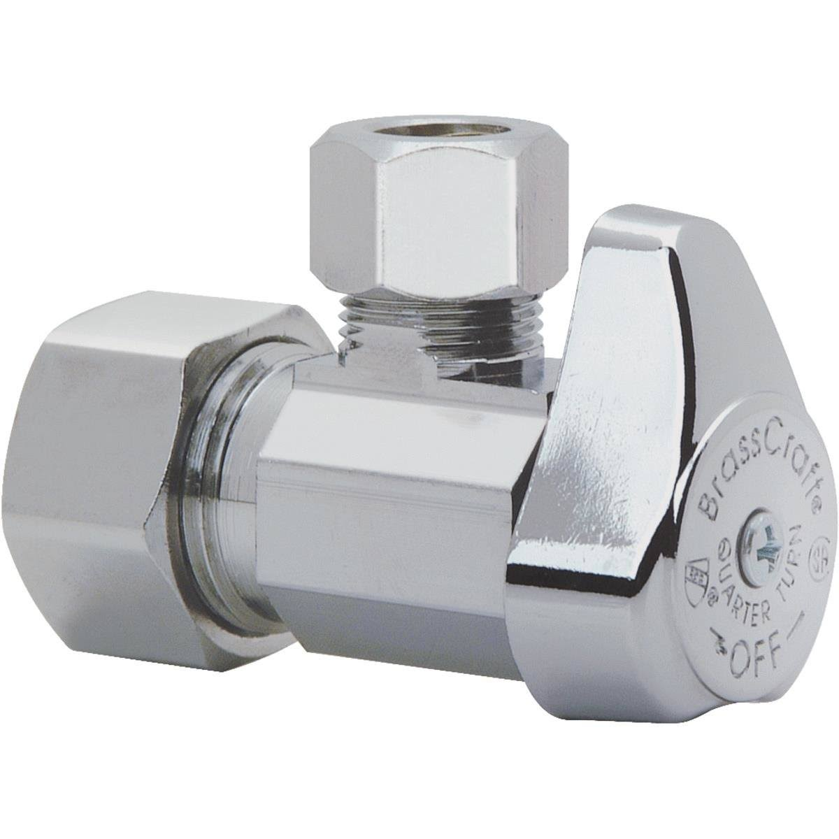 "Brass Craft Quarter Turn Angle Stop Valve - Chrome, 5/8"" x 3/8"""