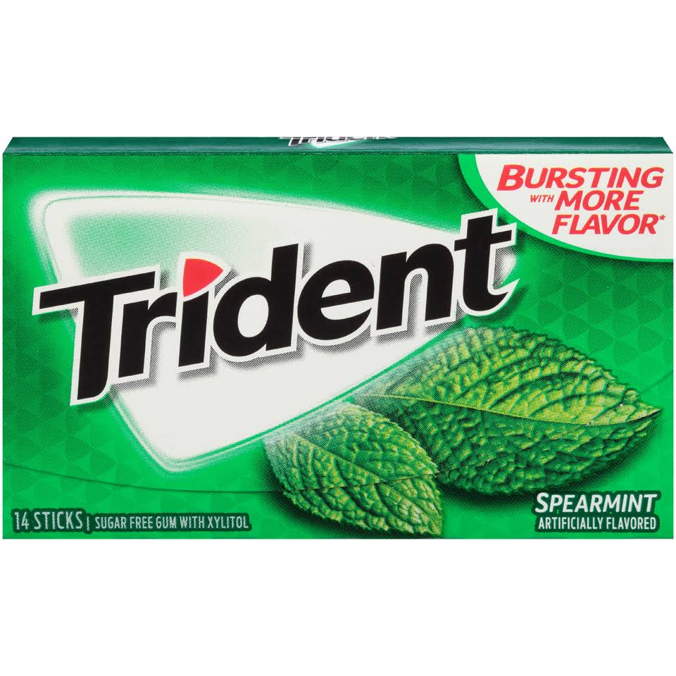 Trident Sugar-Free Gum - Spearmint, 18 ct