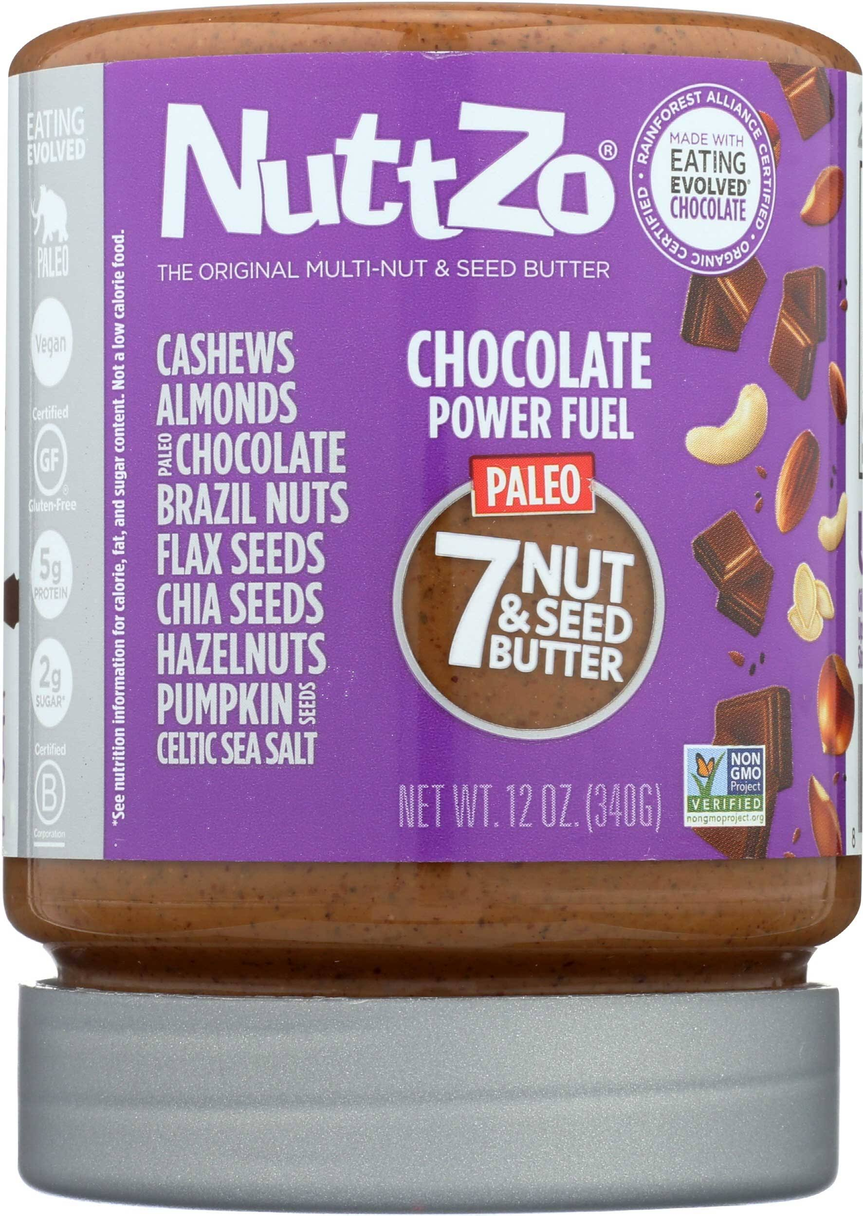 NuttZo Natural Smooth Chocolate Power Fuel Seven Nut & Seed Butter, 12 Ounce