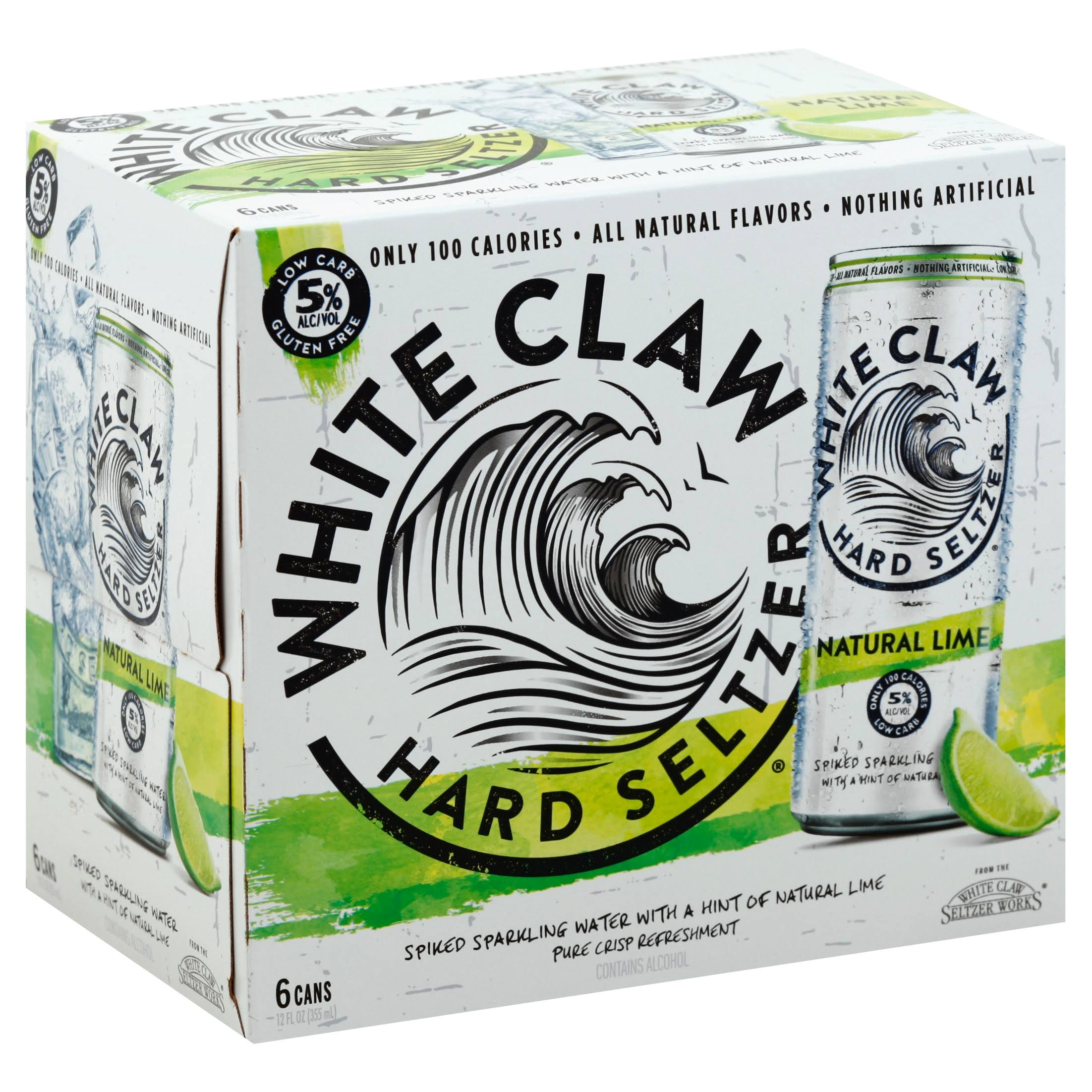 White Claw Hard Seltzer, Natural Lime - 6 pack, 12 fl oz cans