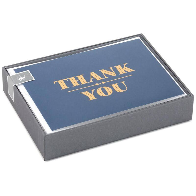 Gold on Navy Thank You Notes, Box of 10