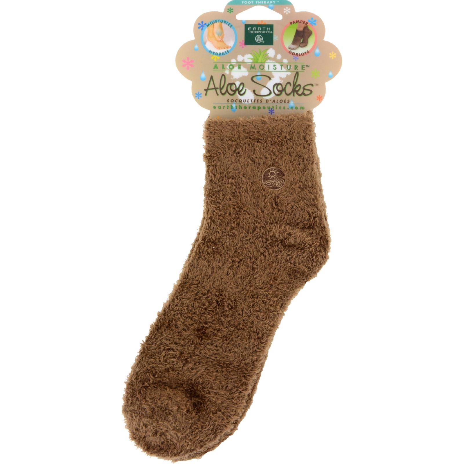 Earth Therapeutics Moisturizing Aloe Socks - Brown