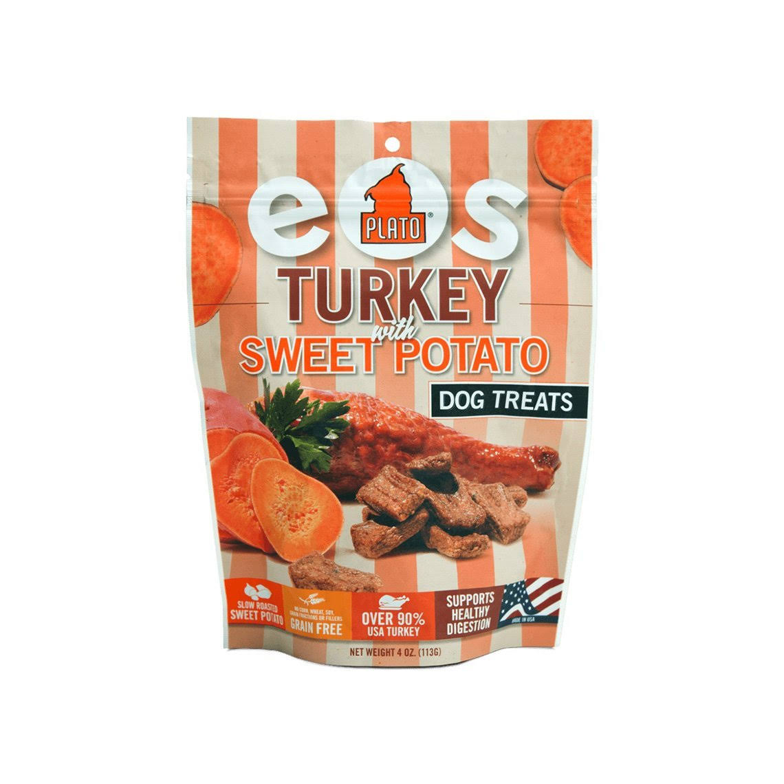 Plato Pet Treat Turkey With Sweet Potato Real Strips Dog Treat - 4 oz pouch