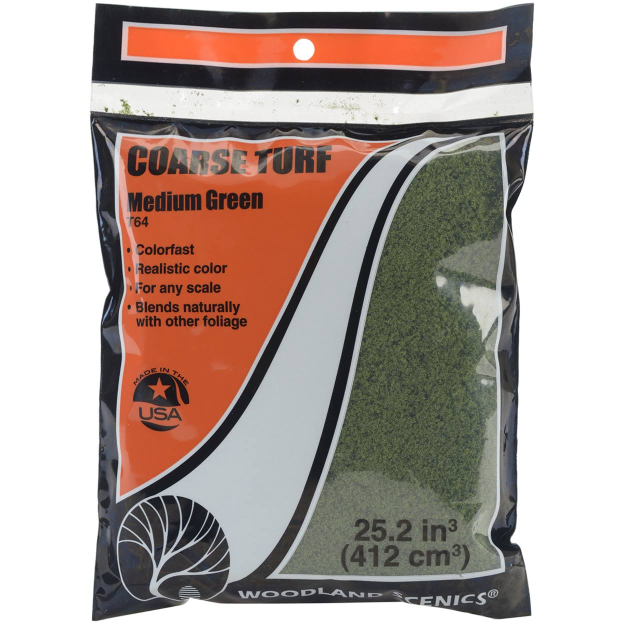 T64 Woodland Scenics Coarse Turf - Medium Green