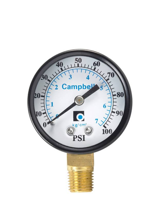Campbell 0-100 PSI Polycarbonate Pressure Gauge - 2''