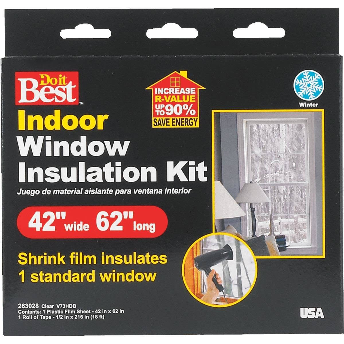 "Do It Best V73hdb Heat Shrink Film Window Insulation Kit - Clear, 42"" x 62"""
