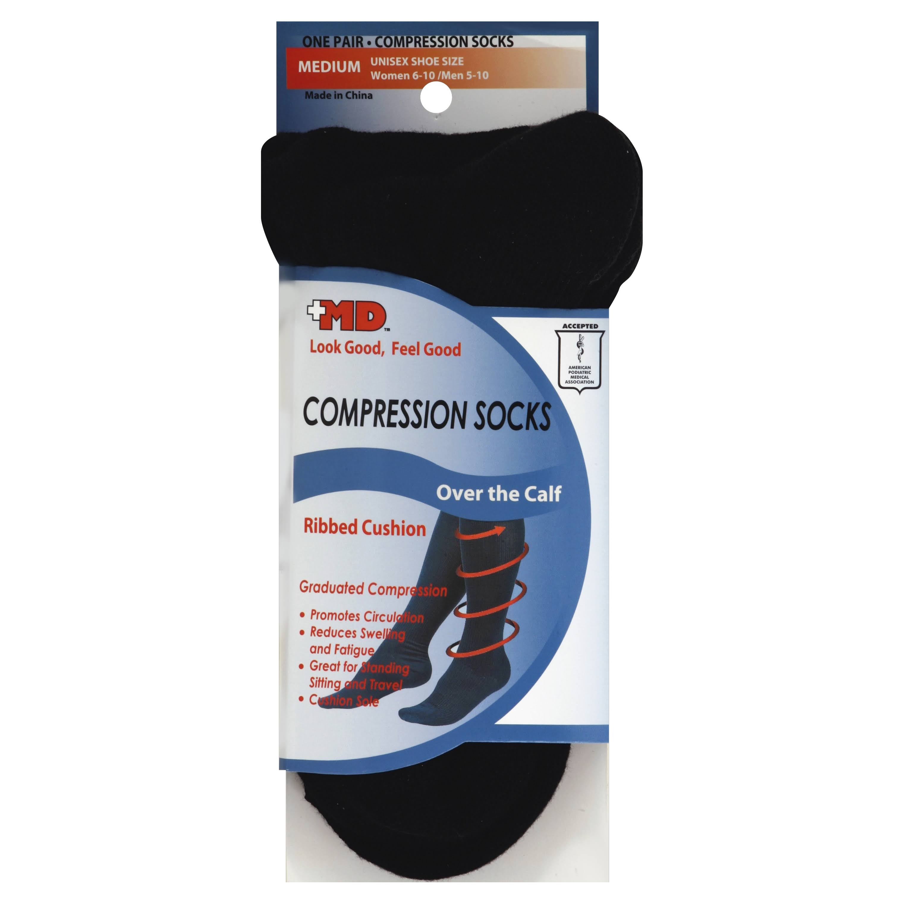 MD USA Ribbed Cotton Compression Socks with Cushion - Black, Medium