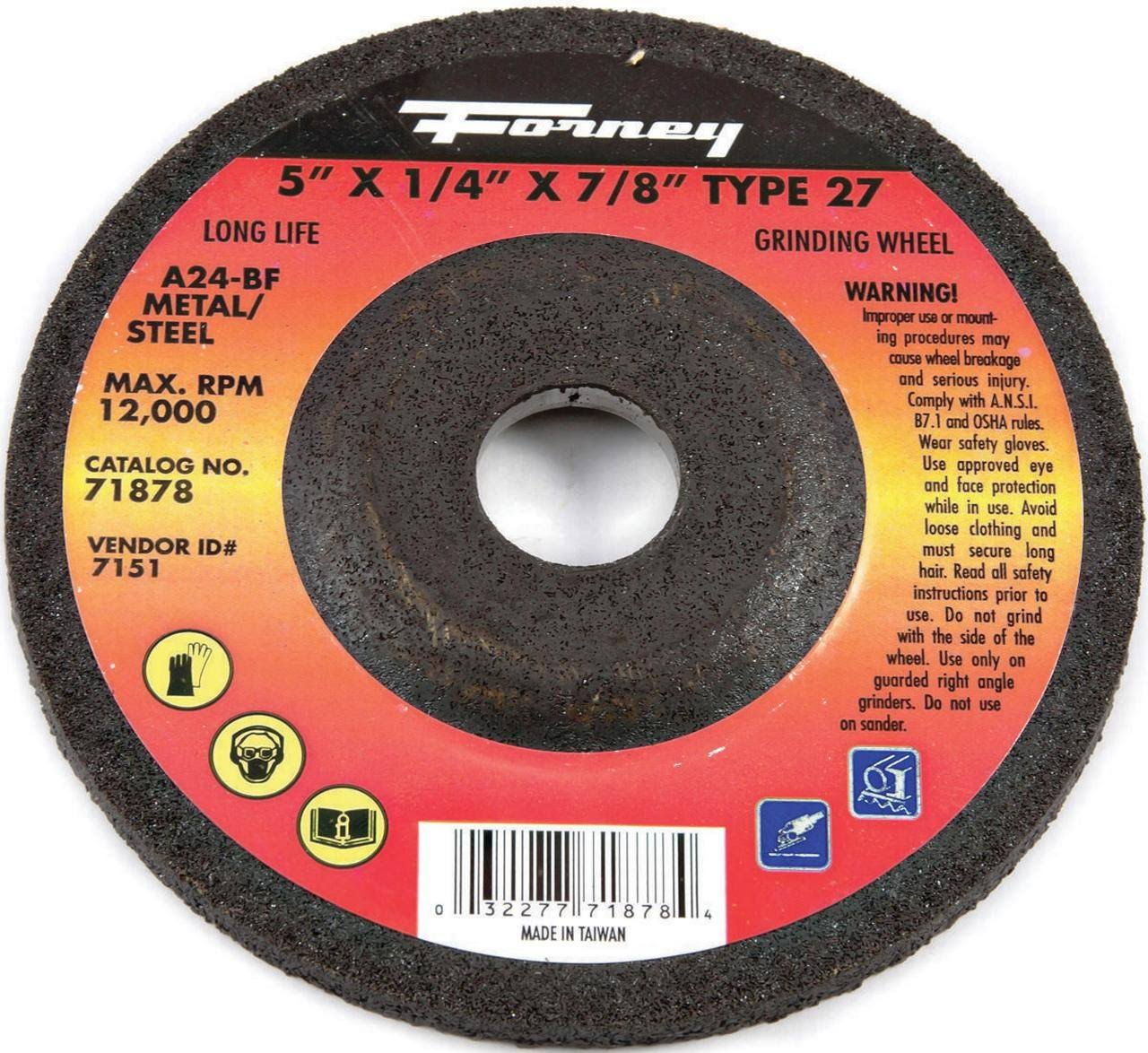 "Forney Industries Grinding Wheel - Type 27, 5""x1/4""x7/8"""