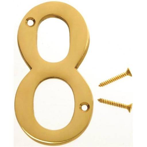 Hy-ko Products House Number - Number 8, Solid Brass, 4""