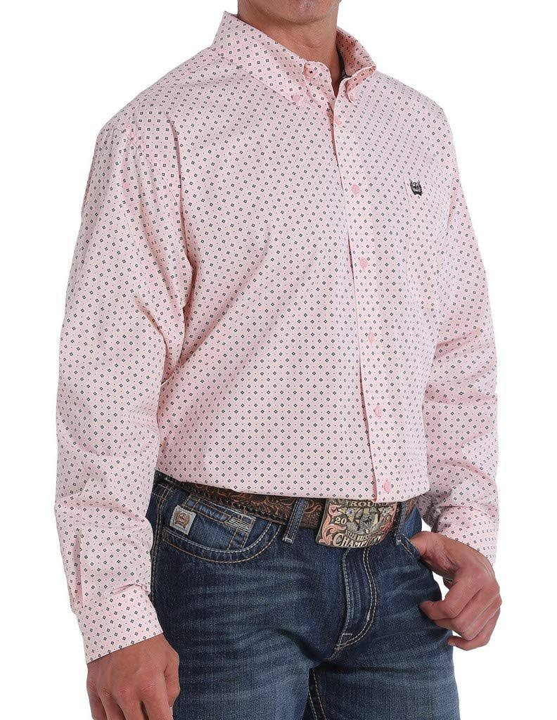 Cinch Western Shirt Mens Long Sleeve Button Geo Pink MTW1104857