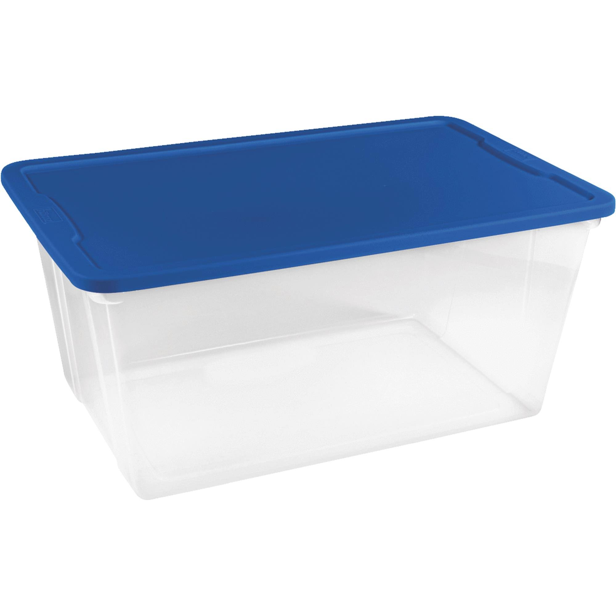 Homz Storage Tote - Clear, Blue Lid, 90qt