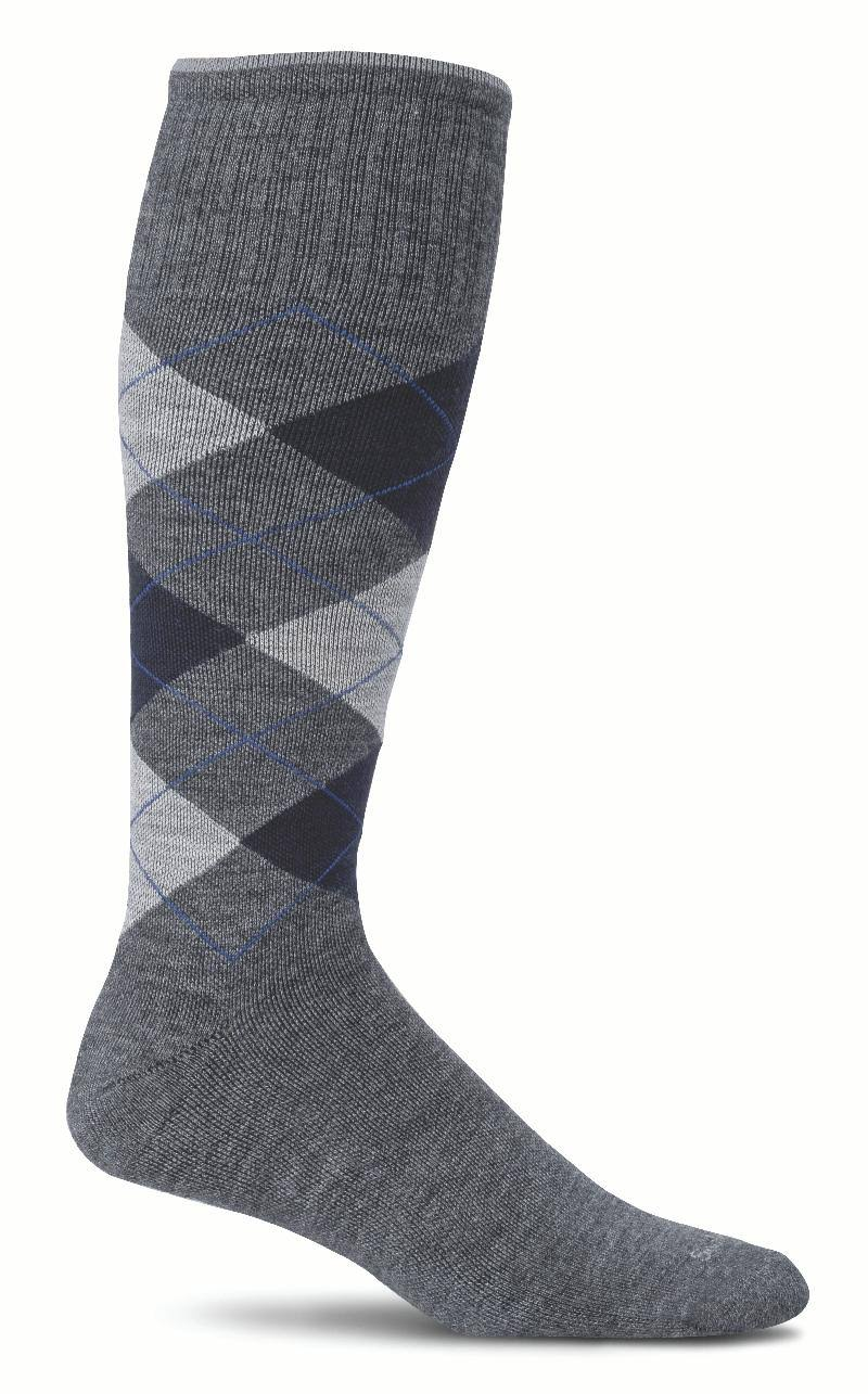 Sockwell Men's Argyle Graduated Compression Socks - Charcoal, Medium/Large