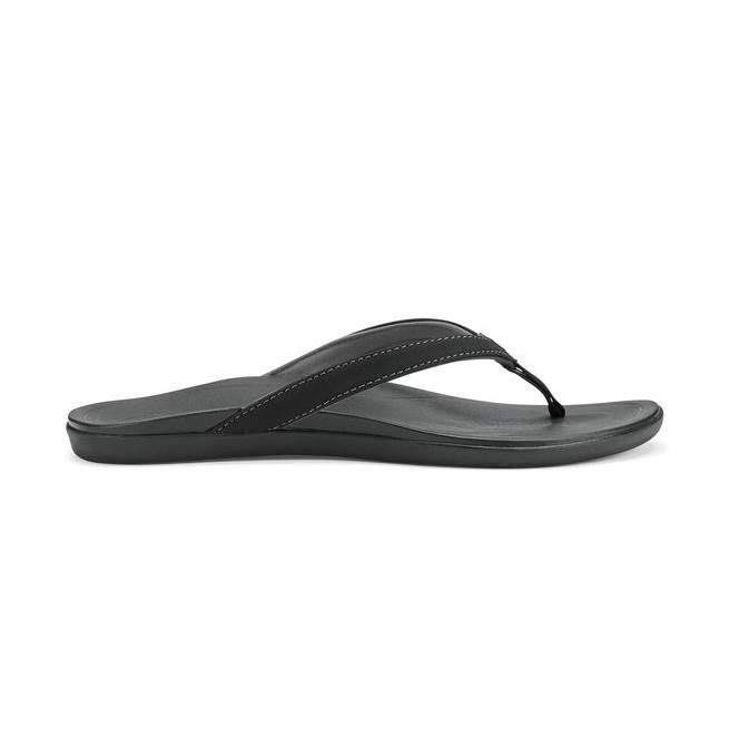 OluKai Women's Ho'Opio Slipper - Onyx Black, 9 US