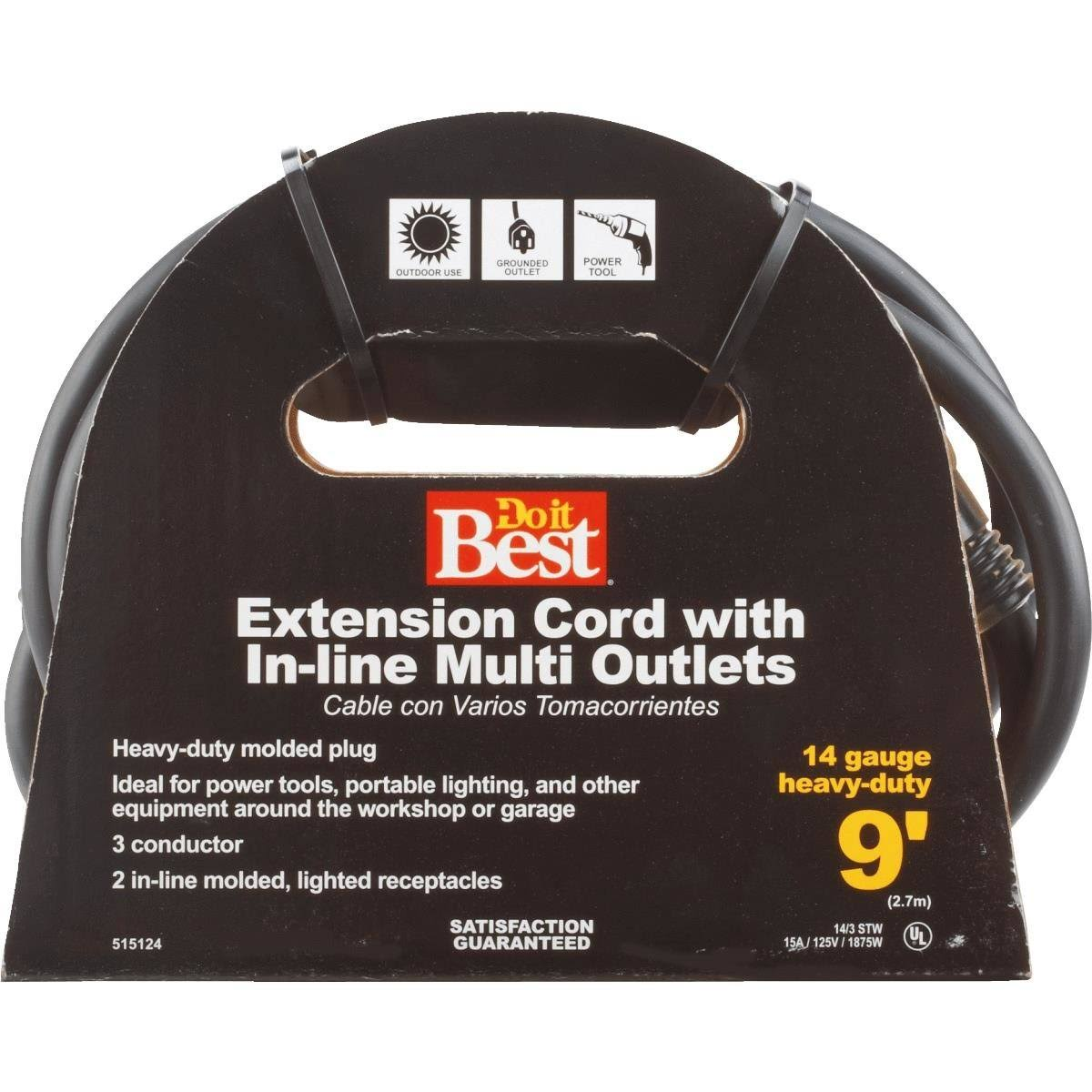 Do It Best Multi Outlet Extension Cord - Black, 9'