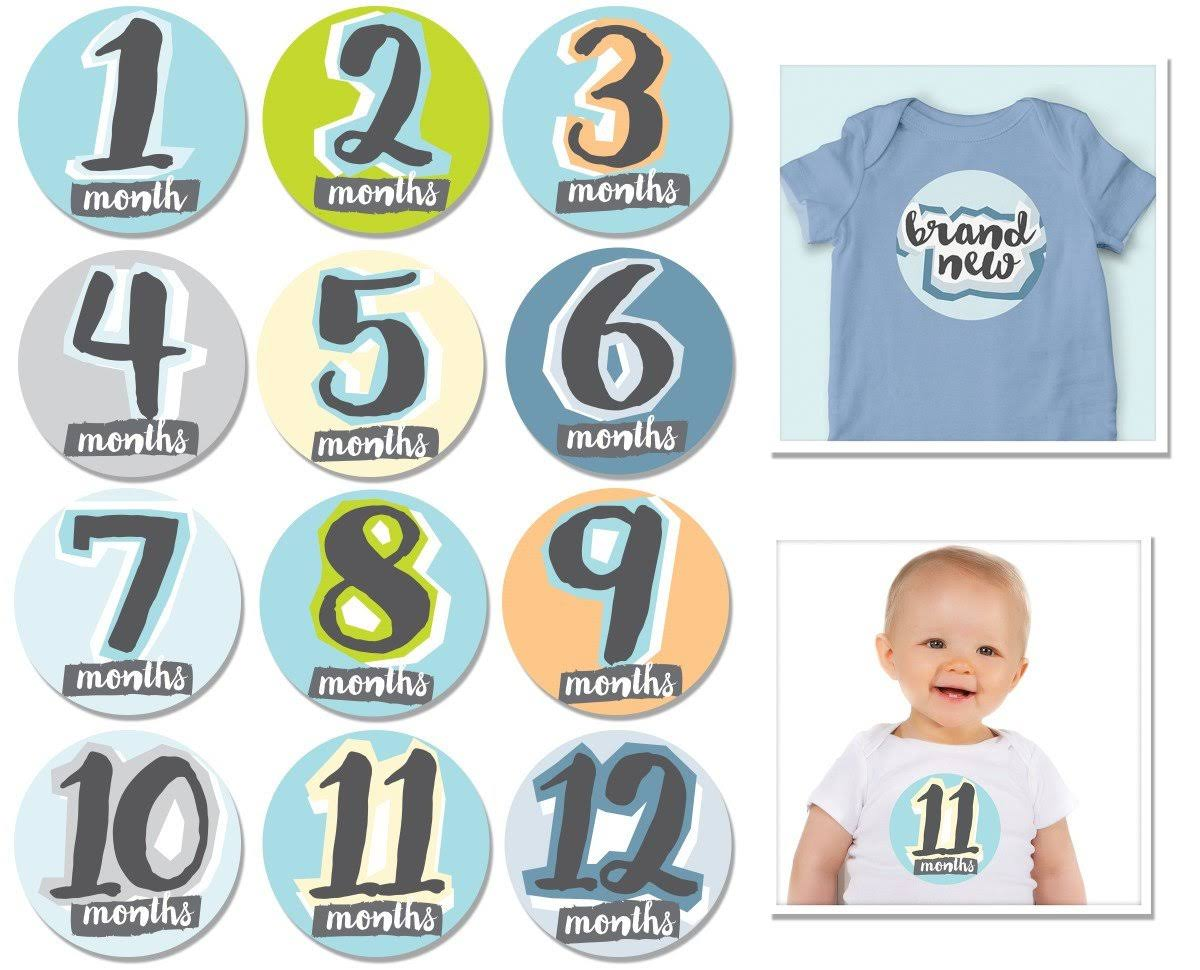 Sticky Bellies Baby Month Stickers - Hello Baby Boy