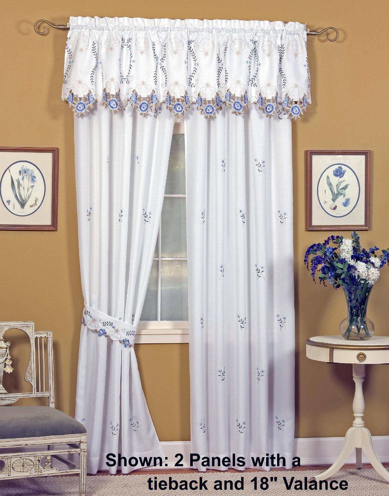 "Today's Curtain Verona 18"" Tailored Valance, Ecru Rose"