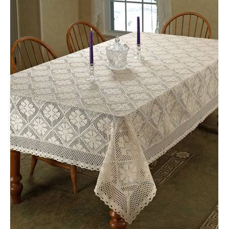"Violet Linen Stars Crochet Vintage Lace Design Tablecloth, 60"" Square, Ivory"