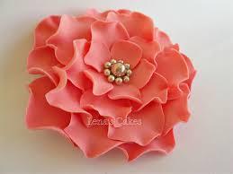 Coral Colored Decorative Items by 2 Fondant Edible Flowers Coral Wedding Aqua Decor Sugar