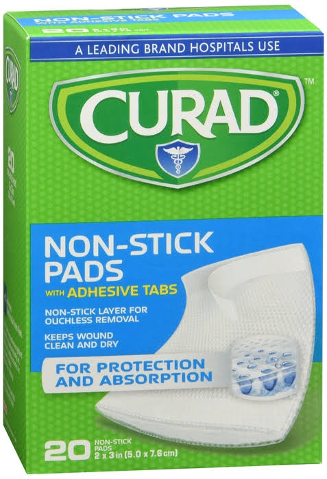 Curad Non-Stick Pads & Adhesive Tabs - x20
