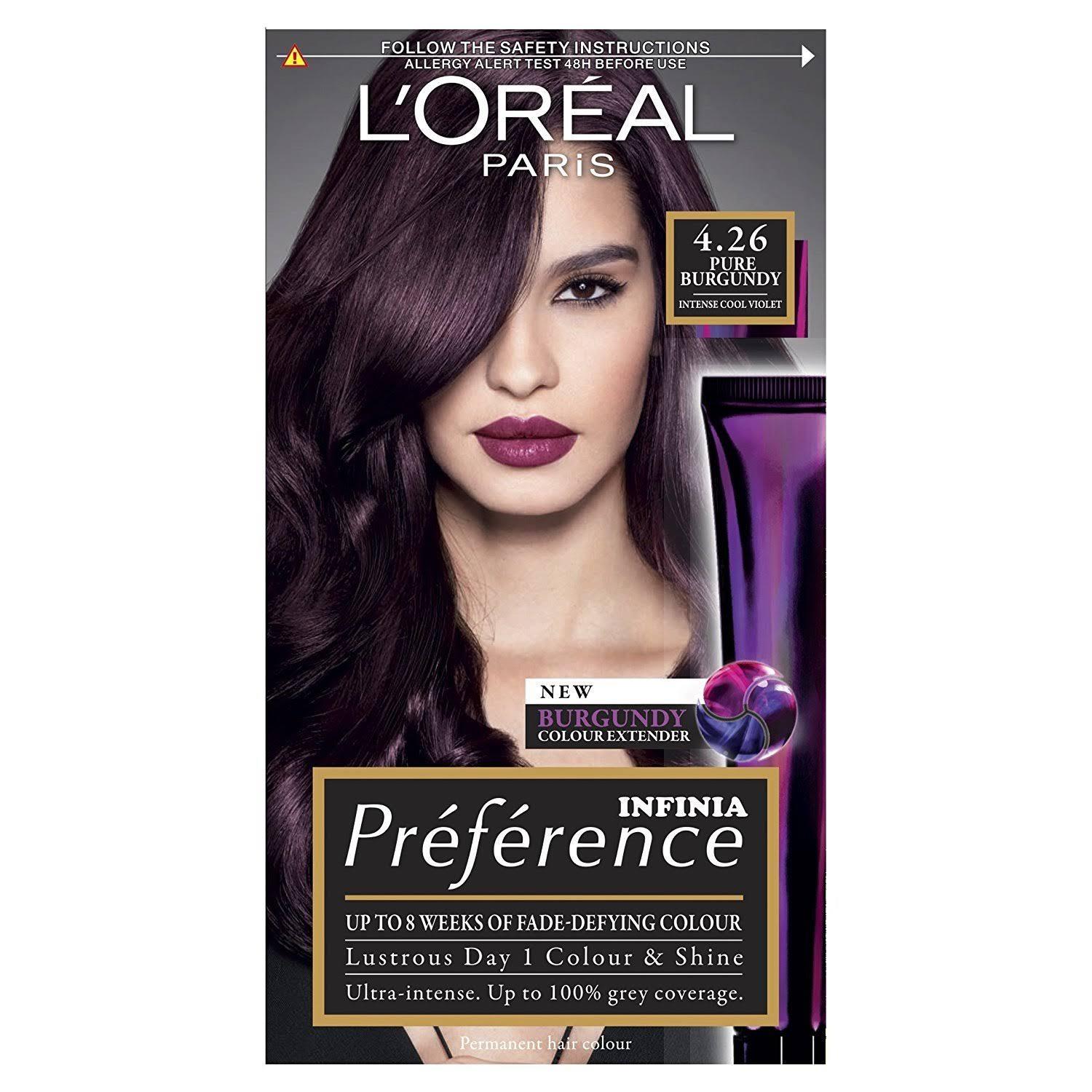 L'Oreal Preference Permanent Hair Dye - 4.26 Pure Burgundy