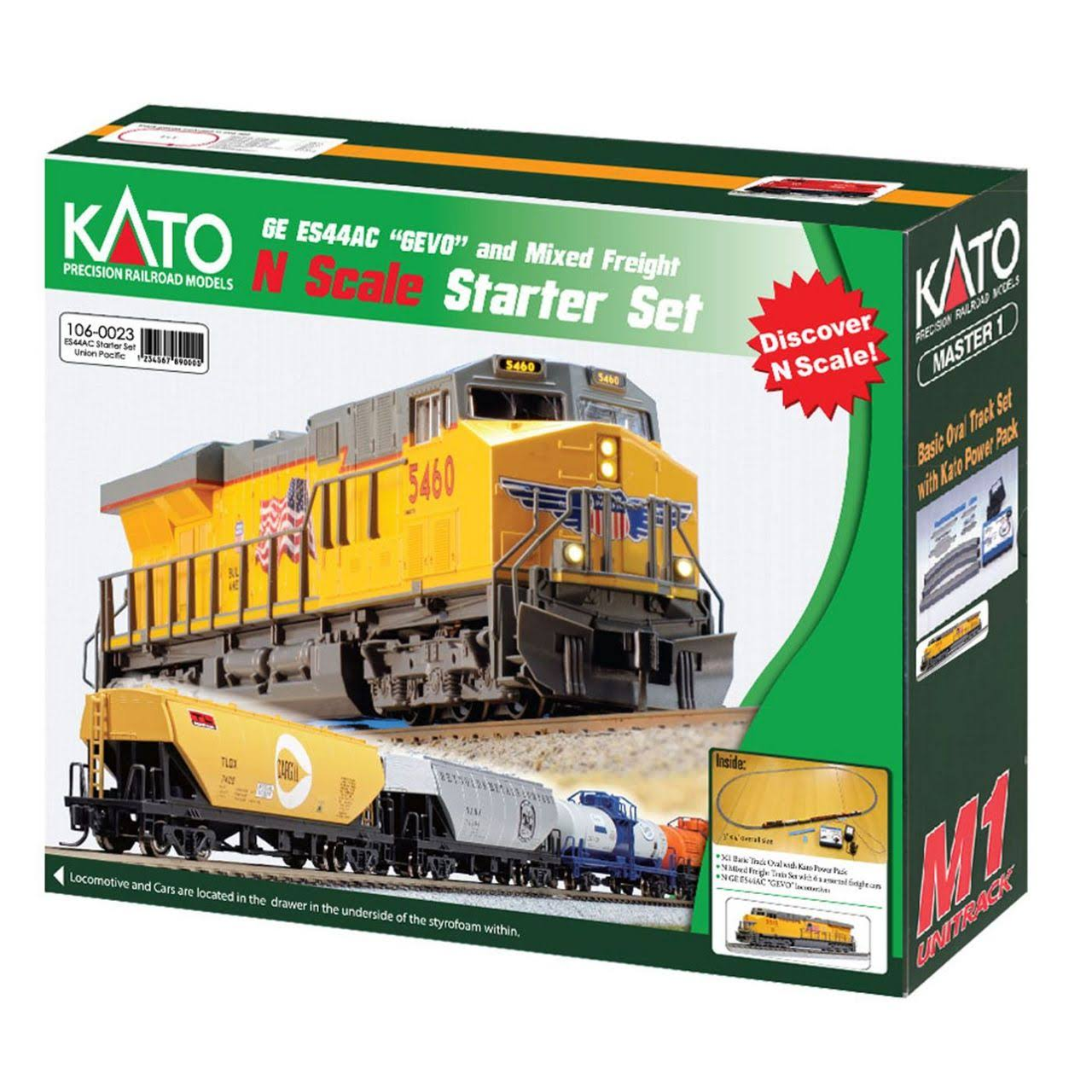Kato Ge Es44ac Gevo Mixed Freight Starter Set - Union Pacific Loco, 6 Cars