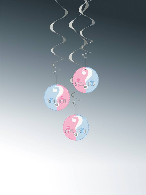 "Unique Party Gender Reveal Baby Shower Hanging Decorations - 26"", 3ct"