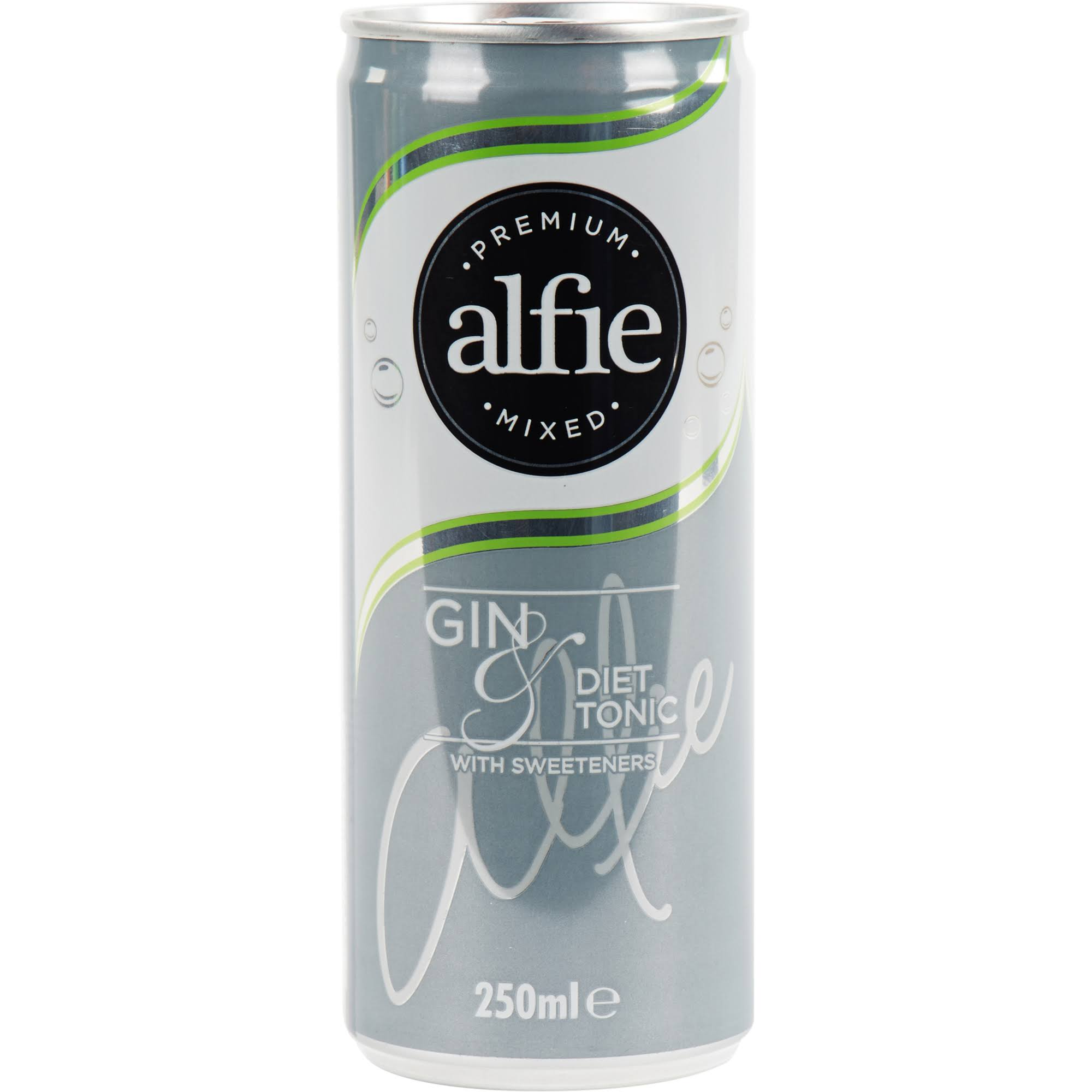 Alfie Premium Mixed Gin and Diet Tonic with Sweeteners Liqueurs - 250ml