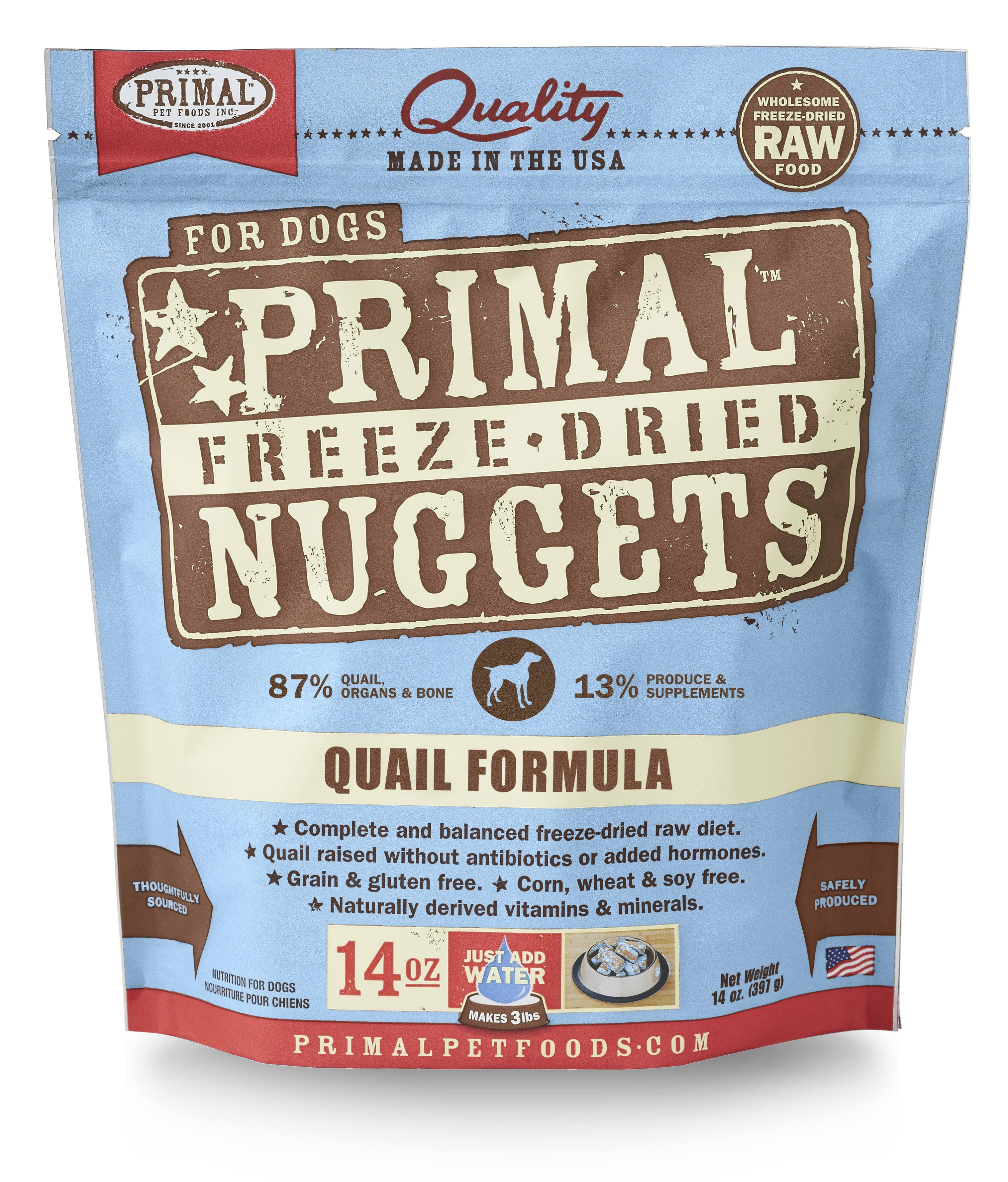 Primal Freeze Dried Nuggets Quail Formula Dog Food 14 oz.