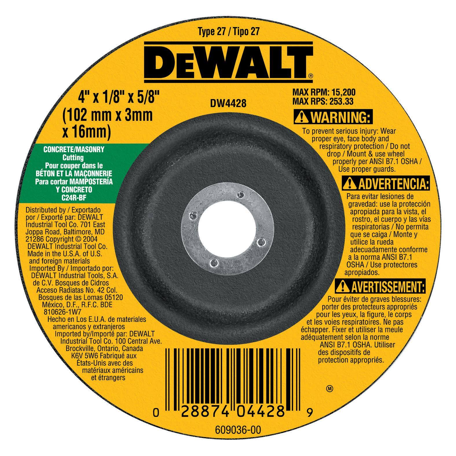 "Dewalt High Performance Masonry Cutting Grinding Wheel - 4"" x 1/8"" x 5/8"""