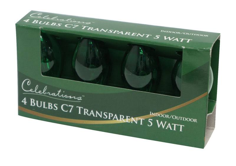Celebrations Replacement Transparent Bulb - Green, x4