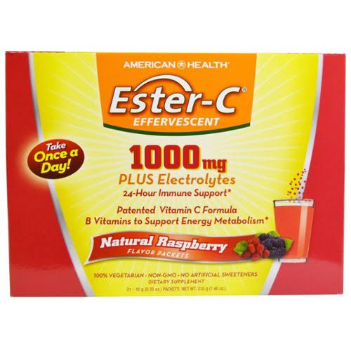American Health Ester C Effervescent Raspberry Powder Dietary Supplement - 21 Packets