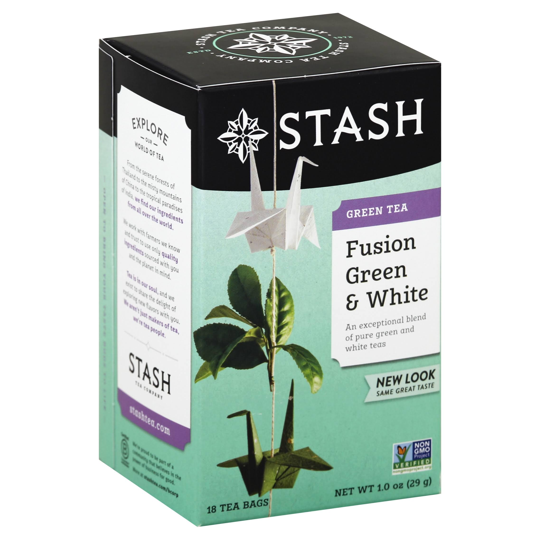Stash Green Tea, Fusion Green & White, Bags - 18 tea bags, 1 oz