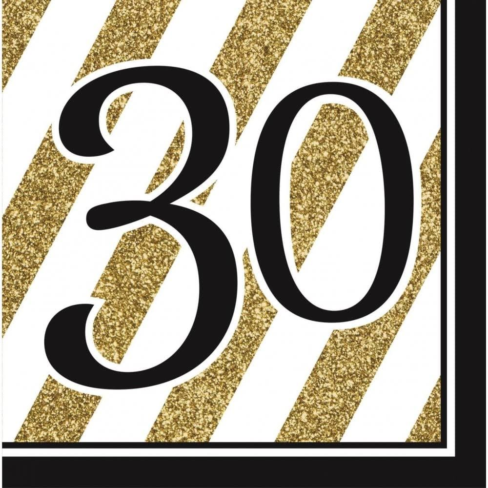Creative Party Birthday Napkin - 30th, Black and Gold