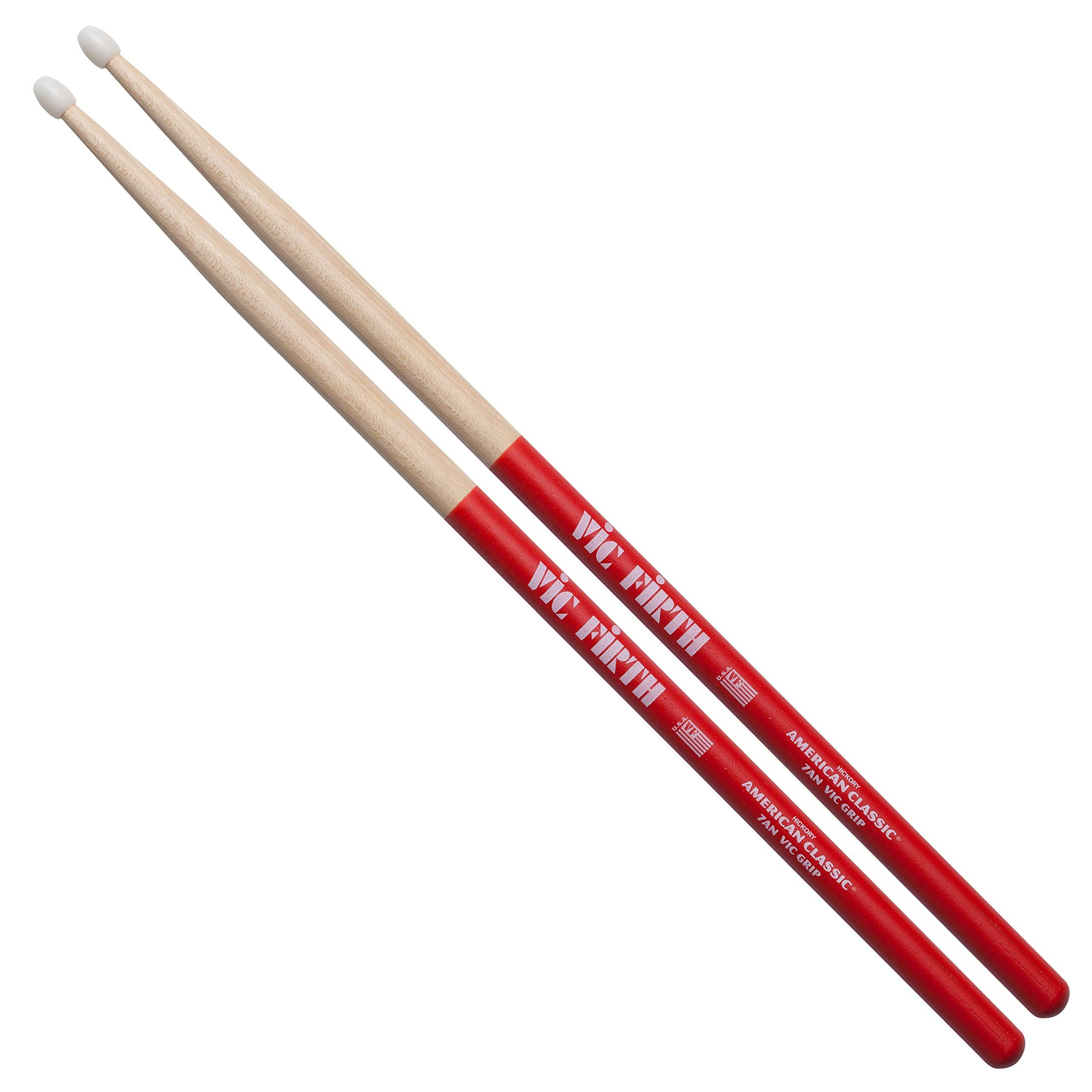 Vic Firth American Classic Drumsticks - with Vic Grip, 7A Nylon
