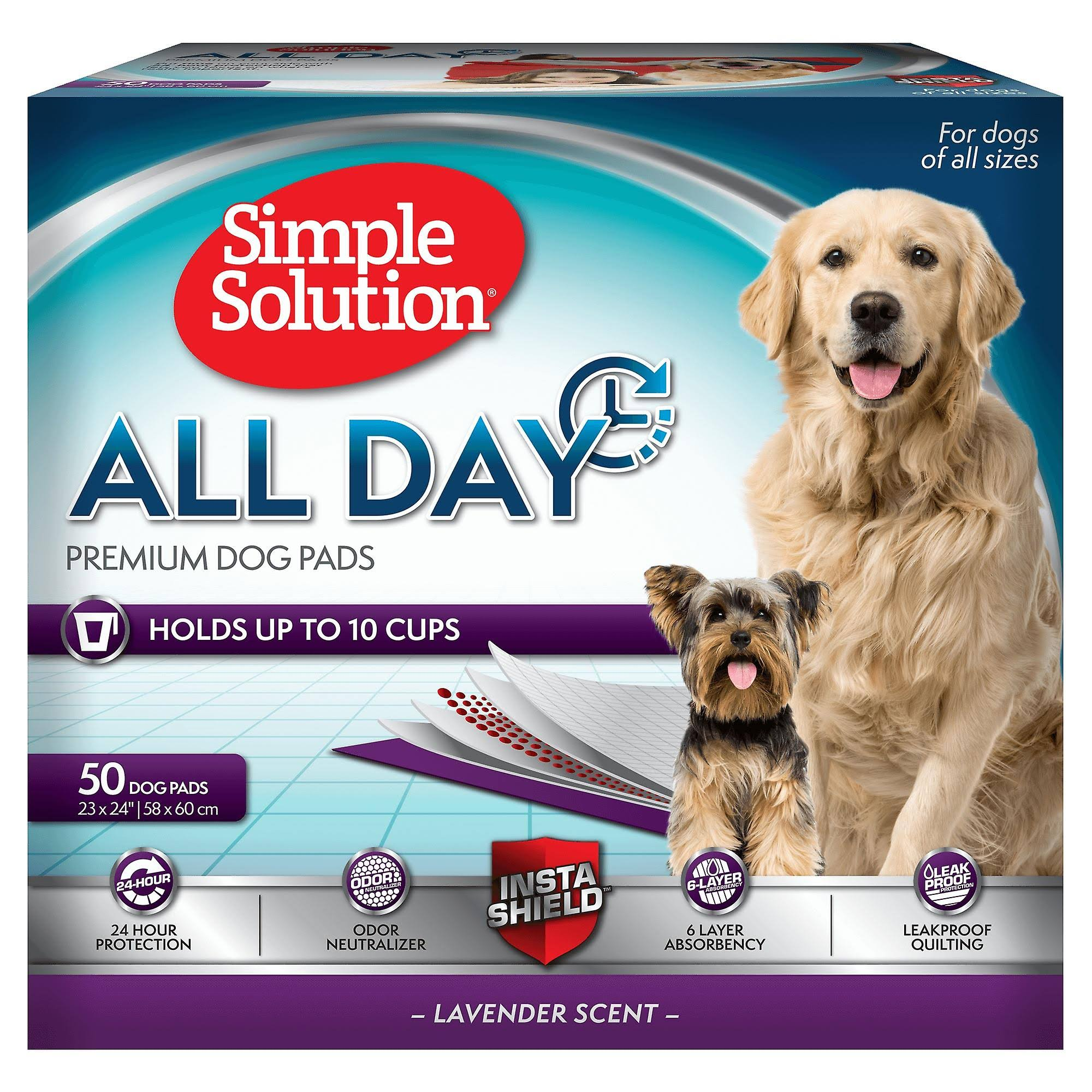 Simple Solution 6 Layer All Day Premium Dog Pads - Lavender Scent, 50pcs