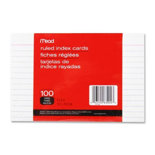Mead Ruled Index Cards - White, 10.1cm x 15.2cm, x100