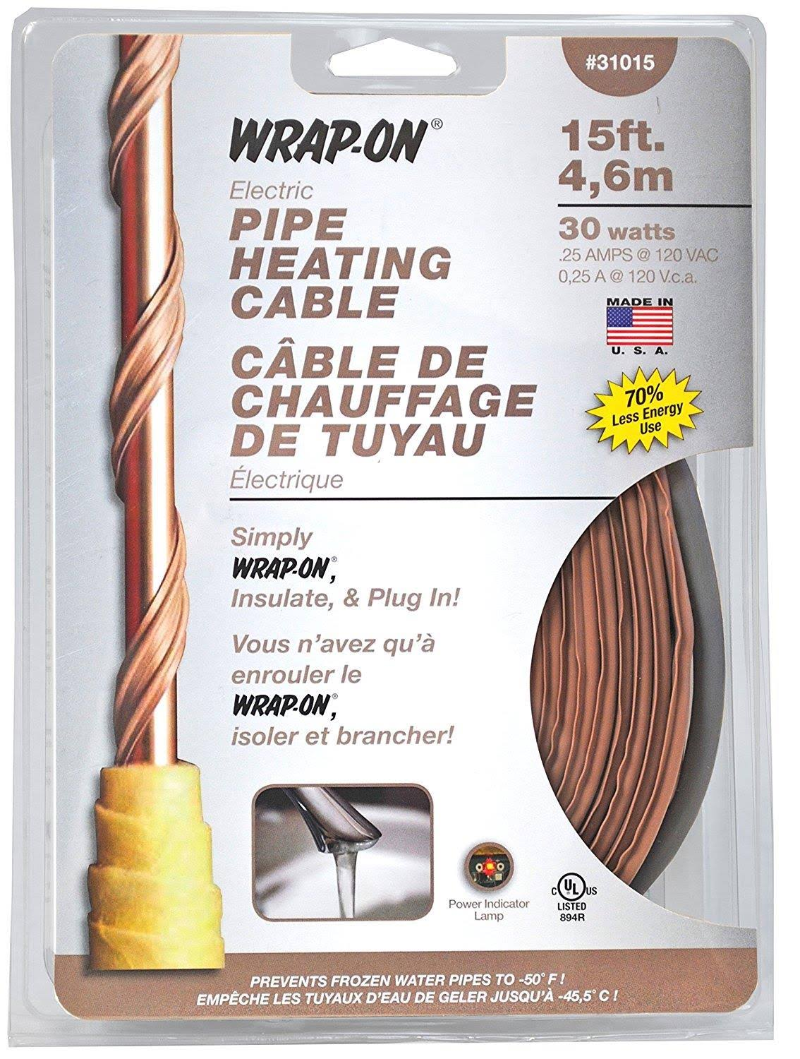 Wrap-On 31015 Pipe Heating Cable - 30W, 0.25 Amp, 15'