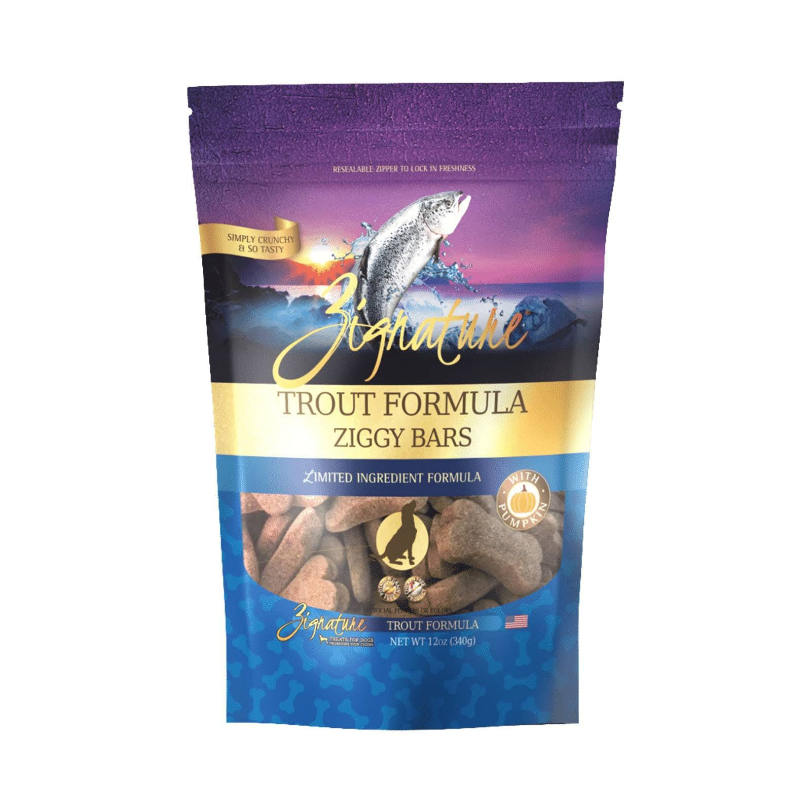 Zignature Zssential Ziggy Bars Trout Formula Dog Treats - 12 oz