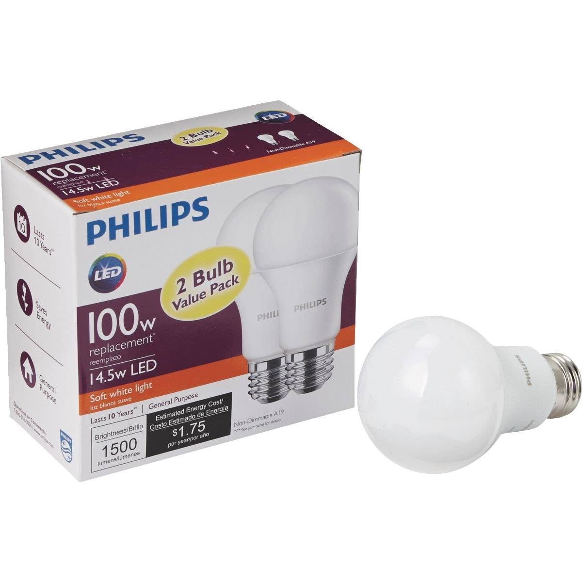 Philips A19 LED Light Bulb - Soft White, 2pk, 100W Equivalent