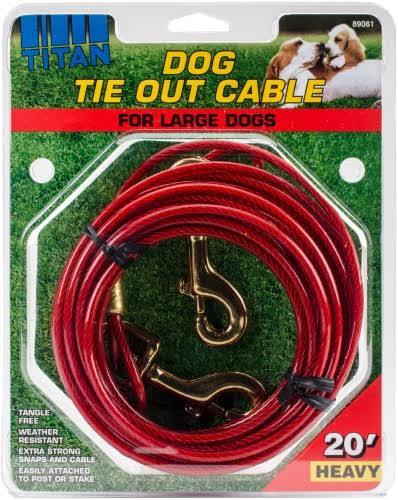 Coastal Pet Products Titan Heavy Cable Dog Tie Out - 20', Red