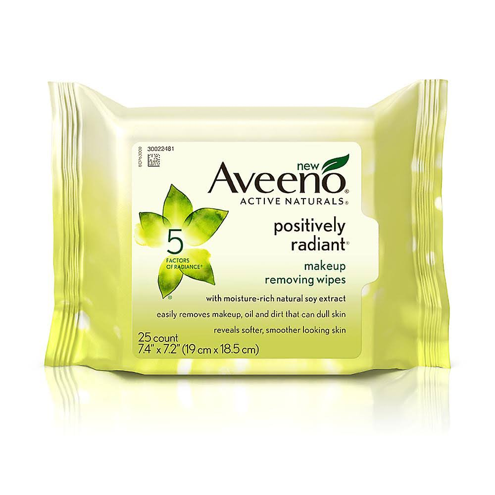 Aveeno Active Naturals Positively Radiant Makeup Removing Wipes - 25pcs
