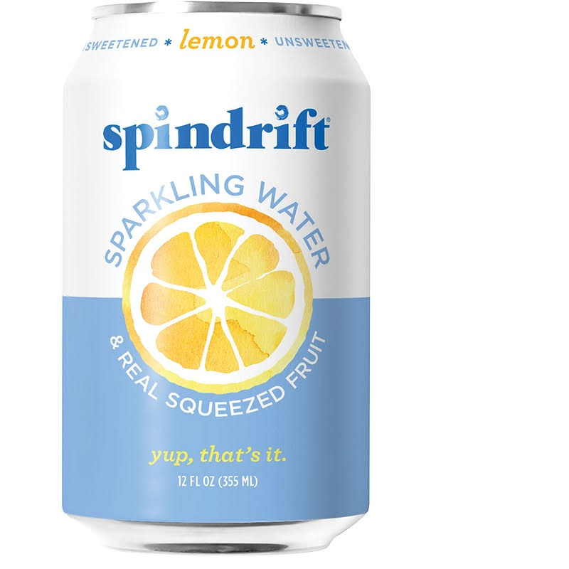 Spindrift Sparkling Water, Lemon - 24 pack, 12 fl oz cans