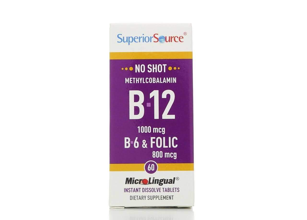 Superior Source No Shot Methylcobalamin B12, B6 & Folic Acid - 800mcg