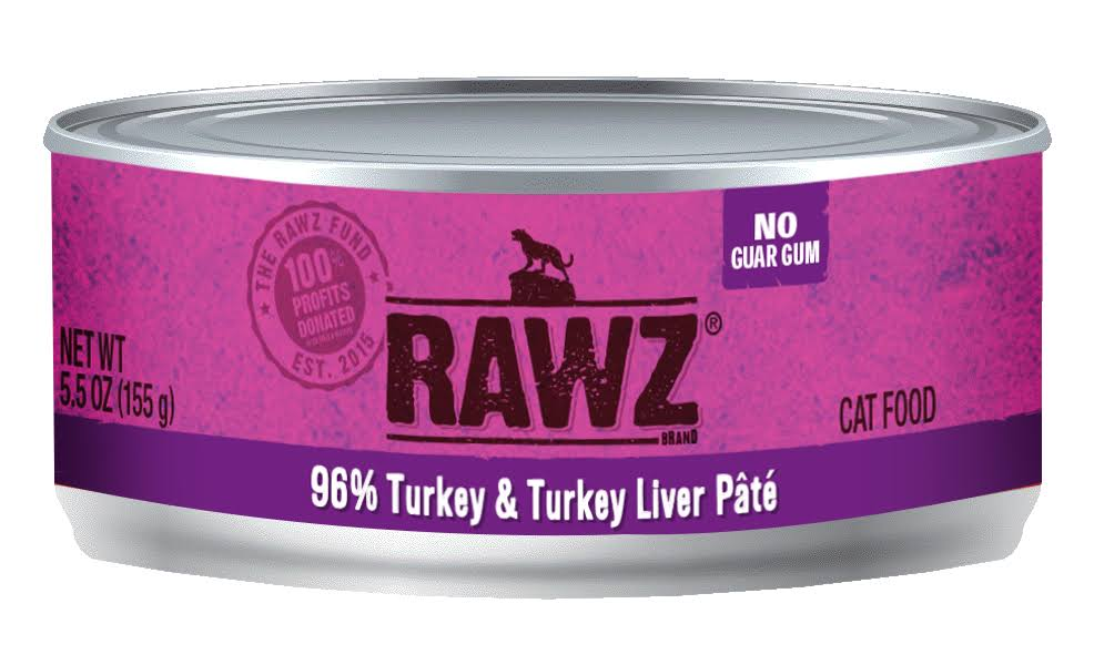 Rawz 96% Turkey & Turkey Liver Cat Food Can | Tomlinson's Feed 5.5 oz