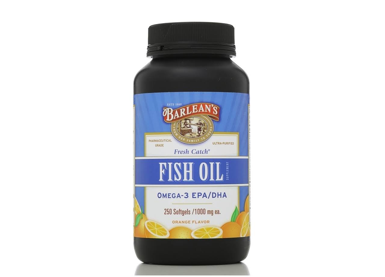 Barlean's Organic Oils Fresh Catch Fish Oil Omega-3 1000mg - Orange Flavor, 250 Capsules