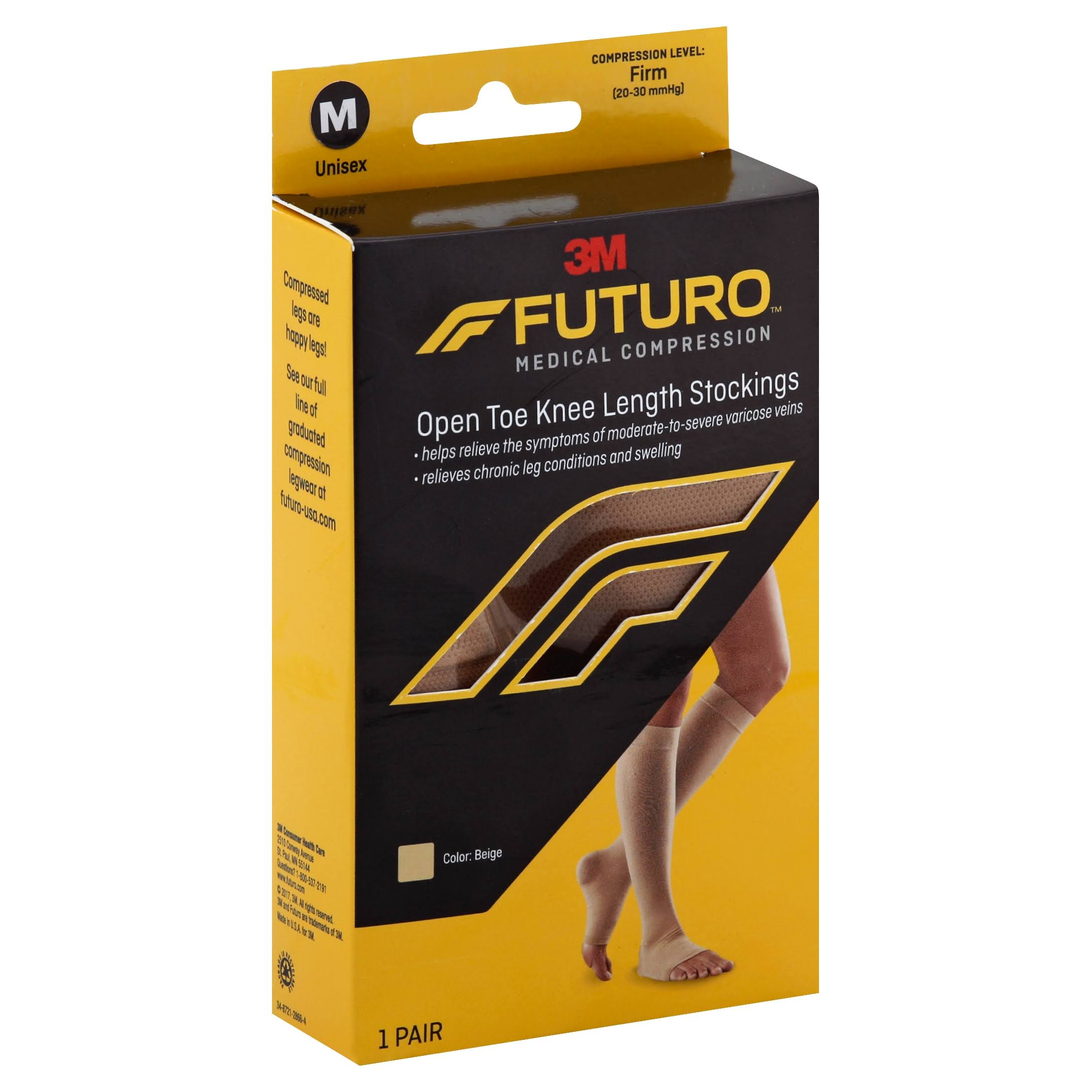 Futuro Stockings, Open Toe Knee Length, Unisex, Medium, Beige
