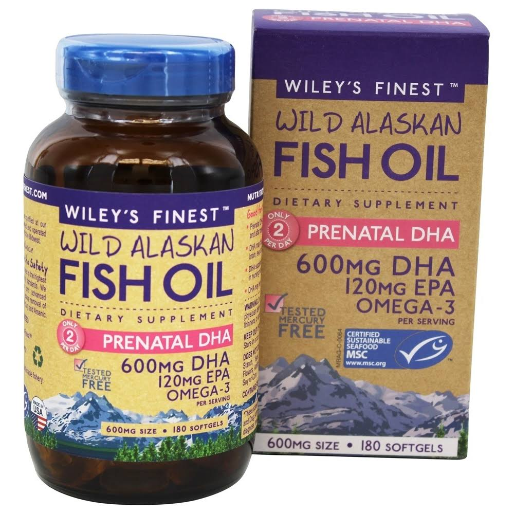 Wiley's Finest Wild Alaskan Fish Oil Prenatal DHA 180 Softgels