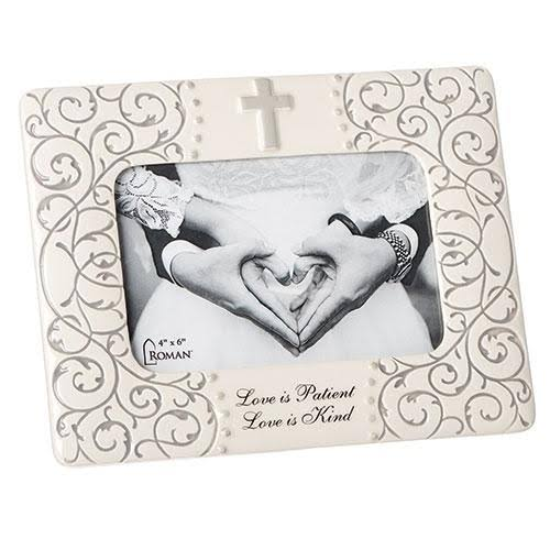 Roman, Inc. Love Is Patient, Love Is Kind Wedding / Anniversary Porcelain Photo Frame
