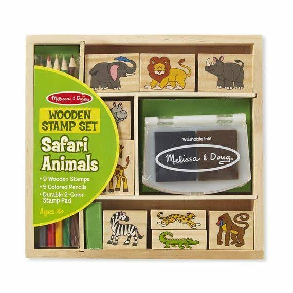 Melissa & Doug Wooden Stamp Set - Safari Animals